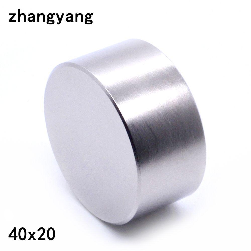 ZHANGYANG 1 pièces N52 aimant néodyme 40x20mm métal gallium super forte aimants 40*20 aimant rond puissant permanent magnétique