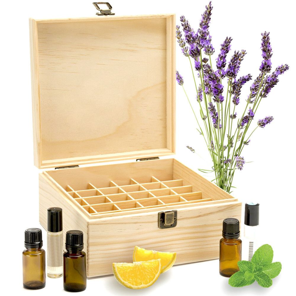 25 Slots Wooden Essential Oils Box Solid Wood Case Holder Aromatherapy Bottles <font><b>Storage</b></font> Organizer 18.6*18.6*18.5cm Pine Wood