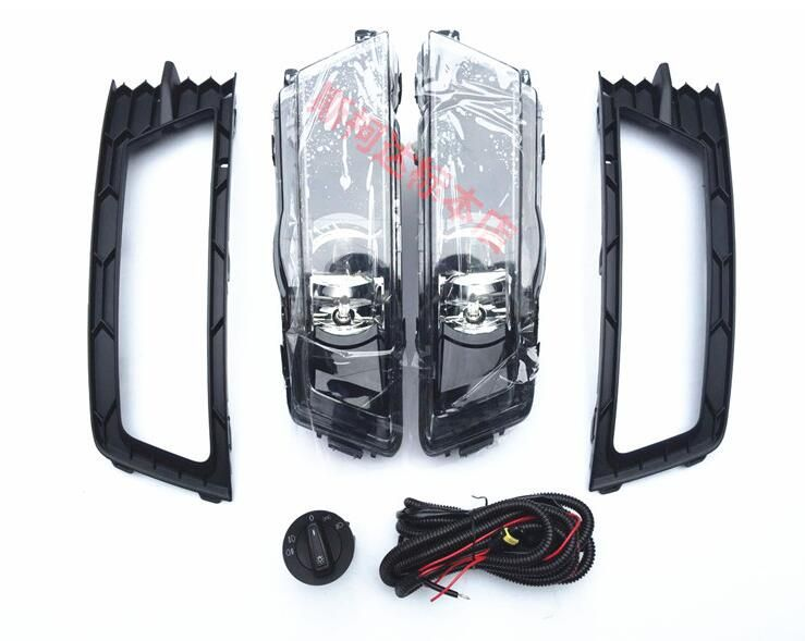 SMK fog lights lamp, 2Pcs Grilles,Cable Harness, headlights switch complete Set for skoda rapid