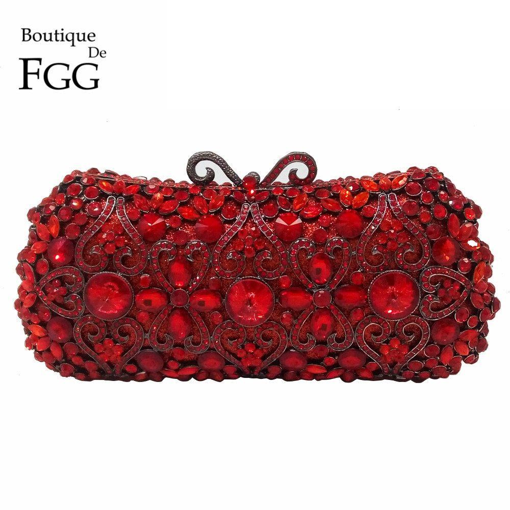 Boutique De FGG Rot Rubin Kristall Diamant Frauen Metall Abend Kupplungen Taschen Hochzeit Schminktäschchen Kupplung Braut Handtaschen Geldbörsen