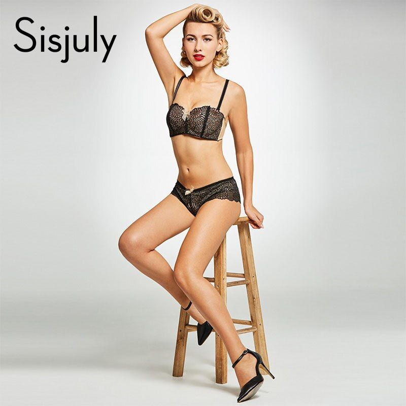 Sisjuly women sexy brief sets black lace up wire free half cup bra push up plain intimates adjusted-straps two hook-and-eye bra