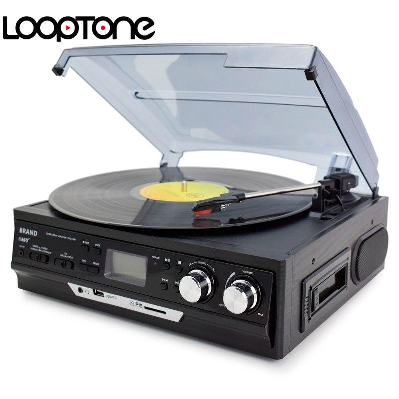LoopTone 3-vitesse Vinyle Tourne-disques LP Platine Lecteur Haut-parleurs Intégrés Gramophone AM/FM Radio Cassette USB/SD enregistreur
