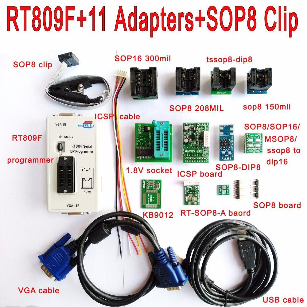 Original RT809F programmer +11 Adapters + IC clip clamp + 1.8V /TSSOP8 Adapter VGA LCD programmer ICSP board 24 25 93 serise IC