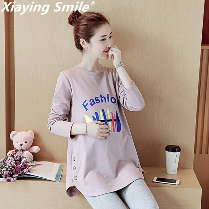 Xiaying Smile Women New Maternity Dress Female Fashion All-Match Boat Neck Sexy loose Embroidery Striped Short Dresss Sleeve