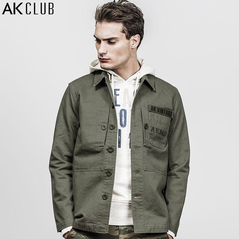 AK CLUB Men Jacket M-43 Marine Corps Vintage Series Field Jacket Padded Herringbone Cotton Coat Breathable Brand Jacket 1804703