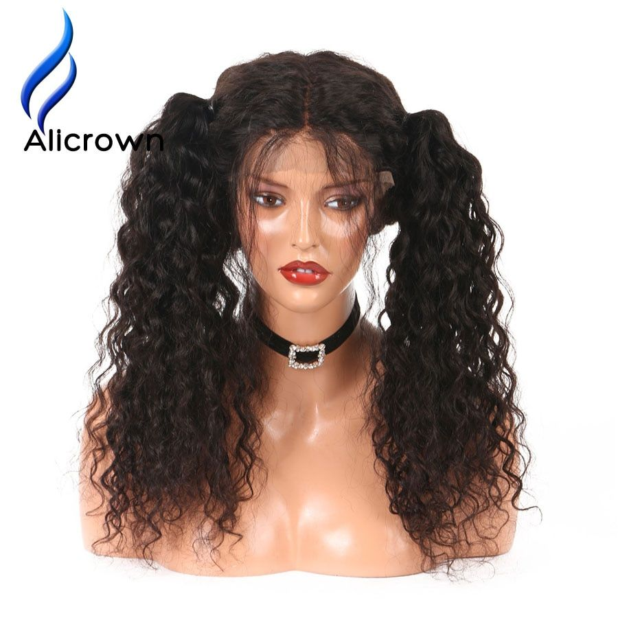 Alicrown Pre-Plucked Curly Brazilian Full Lace Human Hair Wigs With Baby Hair Glueless Remy Hair Lace Wigs Bleached Knots