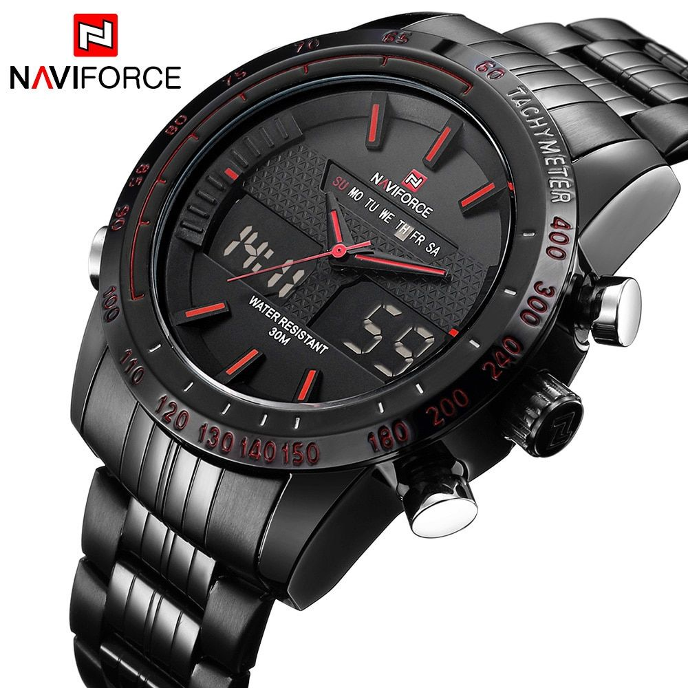 NAVIFORCE 2017 New Luxury Brand Dual Time Clock Fashion Full Stainless Steel Men's Watch Army Male Sport Wristwatch Waterproof