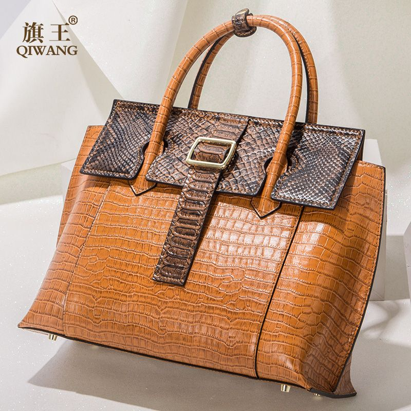 Qiwang High end leather Bag Women Designer Shoulder Bag Amazing Quality Genuine Leather Handbags Elegant Firmly Tote Bags 2018
