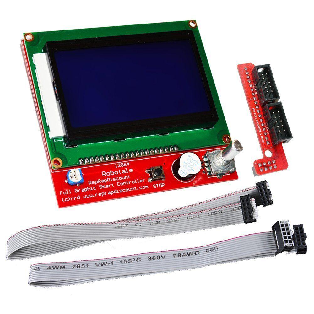 Nouveau 12864 LCD Rampes Smart Parts RAMPES 1.4 Contrôleur Panneau De Contrôle LCD 12864 Affichage Moniteur Carte Mère Écran Bleu Module