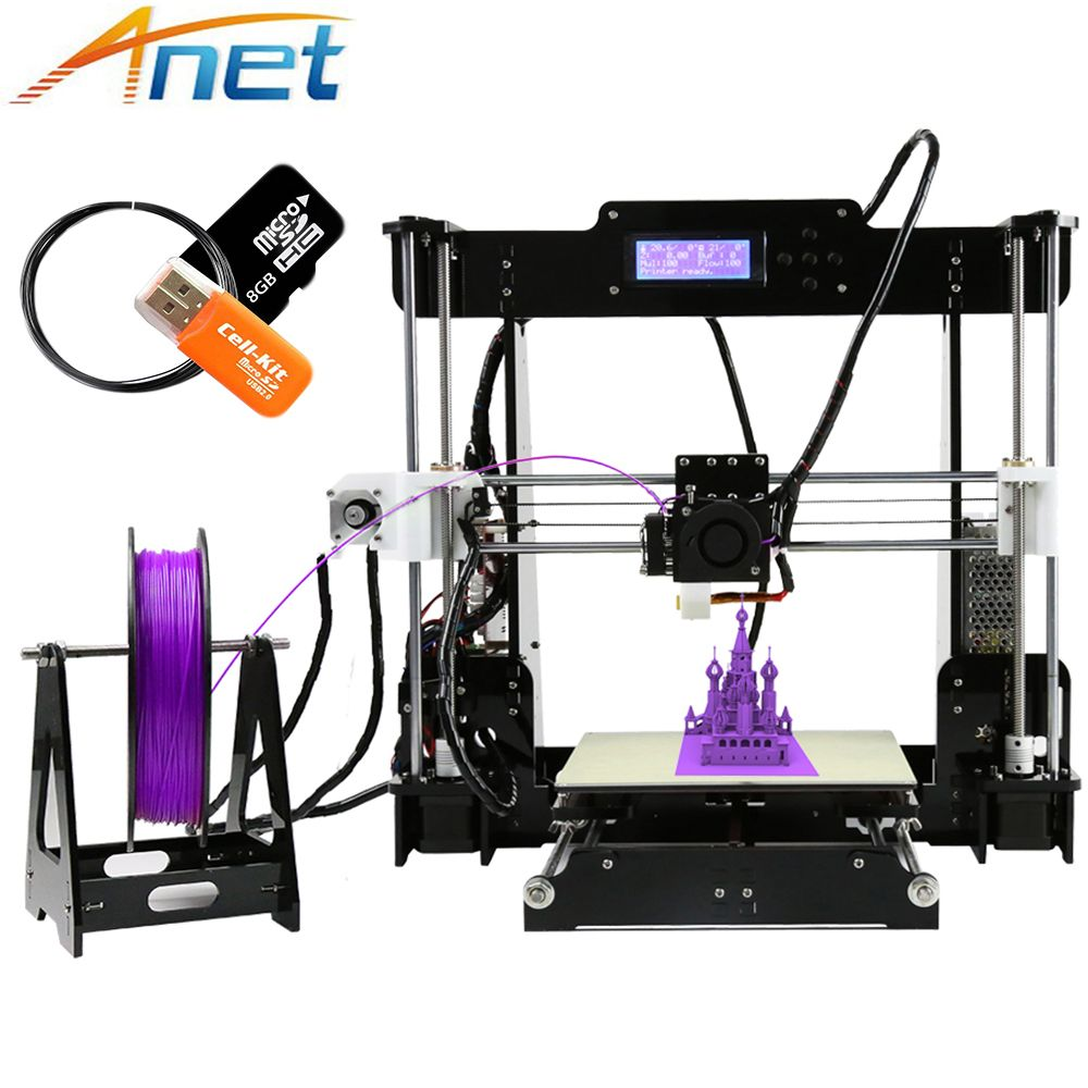 2017 Anet A8 3D Printer Machine Large Printing Size High Precision Reprap i3 DIY 3D Printer Kit with Filament 8G SD Card