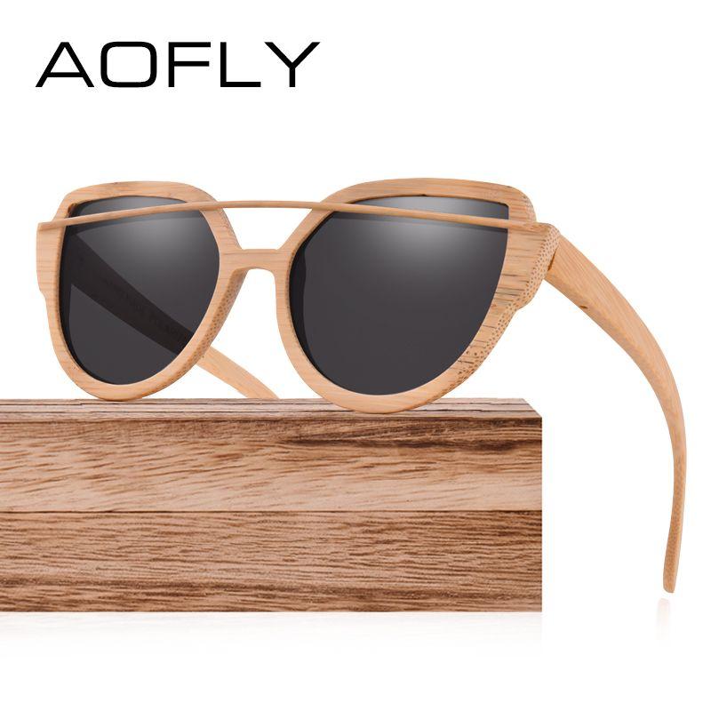 AOFLY Polarisierte Sonnenbrille für Frauen Bambus Sonnenbrille Handgefertigten Bambus Rahmen Klassische Marke Designer Twin-Beams Brille AF604
