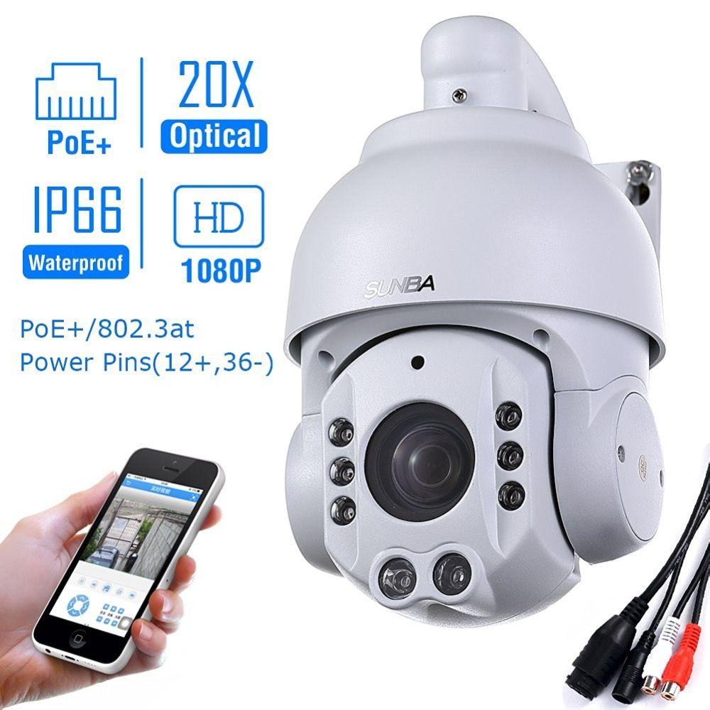 SUNBA 2.0 MP 1080P HD PoE+ 4.7~94.0mm 20X Optical Zoom IR-Cut Night Vision PTZ Outdoor IP Security Dome Cameras ONVIF