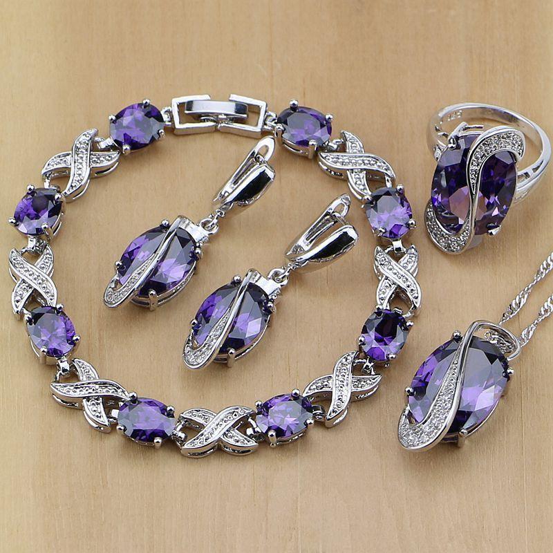 925 bijoux de mariée en argent Sterling Zircon violet blanc CZ ensembles de bijoux pour les femmes boucles d'oreilles/pendentif/collier/bagues/Bracelet