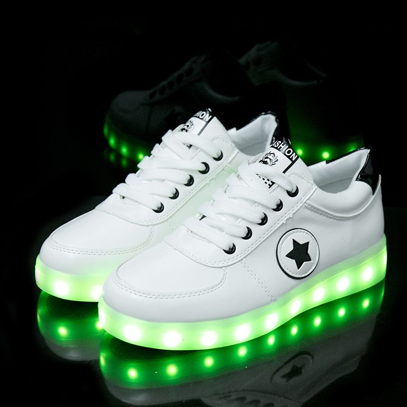 Cross-border factory direct sales summer models colorful light shoes LED lights shoes USB charging men and women couple models s