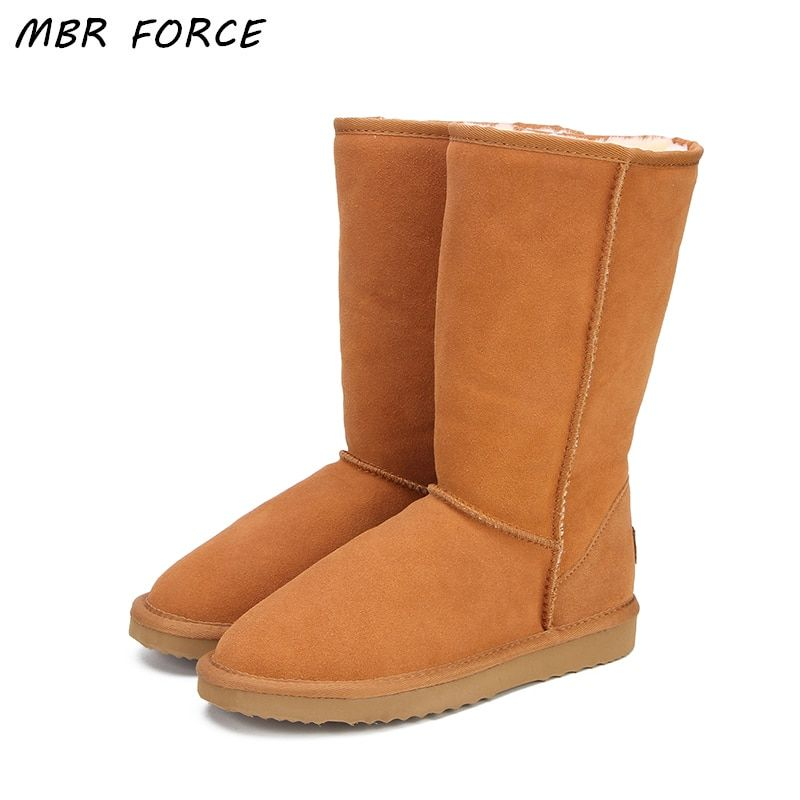 MBR FORCE Genuine leather Fur Snow boots women Top High quality Australia Boots Winter Boots for women Warm Botas Mujer