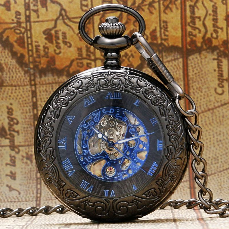 New Arrival Chic Blue Roman Numbers Transparent Mechanical Hand Wind Pocket Watch Antique Black Fob Time Men Women Gift