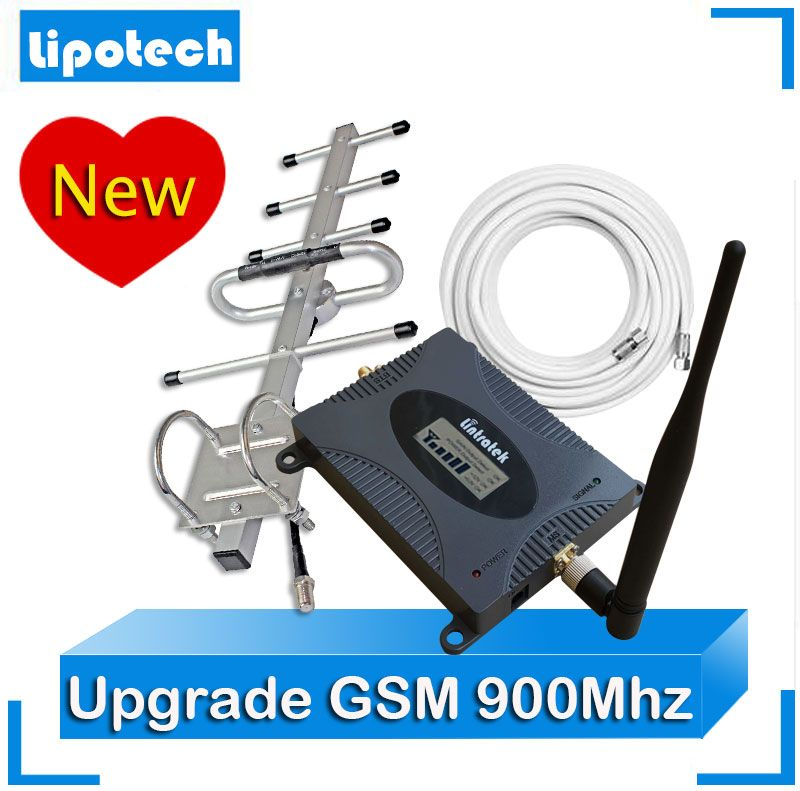 2017 Lintratek Mobile Cell Phone Signal Booster 2G Upgrade GSM 900MHz Signal Repeater With Outdoor Yagi Antenna+ Whip Antenna