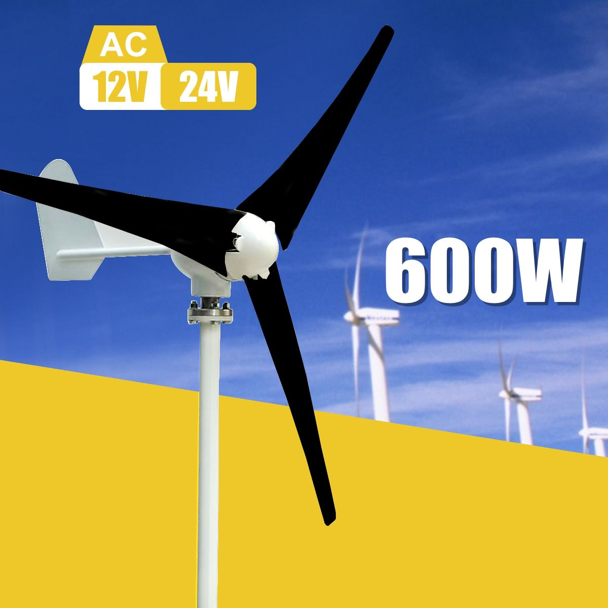 Max 600W Wind Turbine Generator Kit Max AC 12V 24V 3 Blade Option Aerogenerator