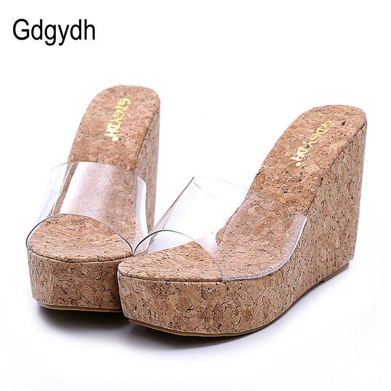 Gdgydh 2019 Nouvelle D'été Transparent coins de plate-forme Sandales Femmes hauts talons mode Femelle D'été tailles des chaussures 40 livraison directe