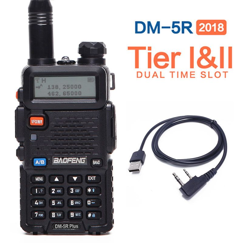 2018 Baofeng DM-5R PLUS Tier 1 Tier 2 Digital Walkie Talkie DMR Two-way radio VHF/UHF Dual Band radio Repeater +A USB cable