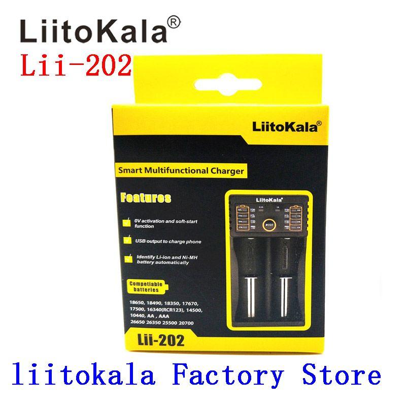 2019 Liitokala Lii-202 5 V prise 3.7 V/1.2 V AA/AAA 18650/26650/16340/14500/10440/18500 26500 chargeur de batterie au lithium Rechargeable