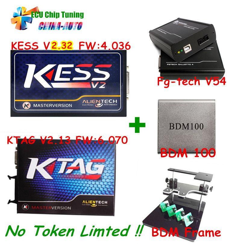 Newest Kess V2 V2.32 4.036 OBD2 Manager+ K-TAG 2.13 FW 6.070 K TAG ECU Programmer+FGTECH Galletto 4 Master v54 BDM Frame BDM 100