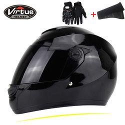 Nuevo genuino virtud cara llena cascos Invierno Caliente doble visera de la motocicleta casco moto capacete