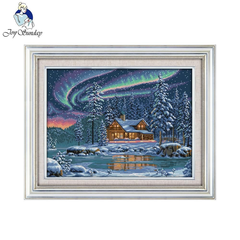 Joy Sunday Scenic Style The Aurora Borealis Paintings Design Detailed Cross Stitch Patterns for 14CT or 11CT Print Canvas