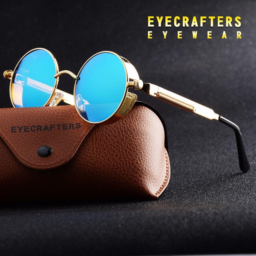 Lunettes de soleil polarisées rondes en or lunettes de soleil gothiques Steampunk pour hommes
