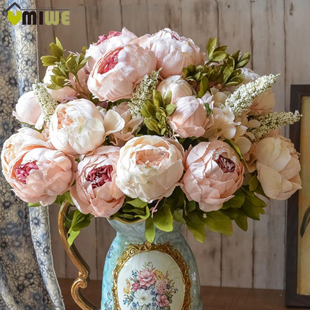Umiwe 13 Têtes de Style Européen Faux Artificielle Pivoine Soie Décoratif Parti Fleurs Pour La Maison Hôtel De Bureau De Mariage Jardin Décor