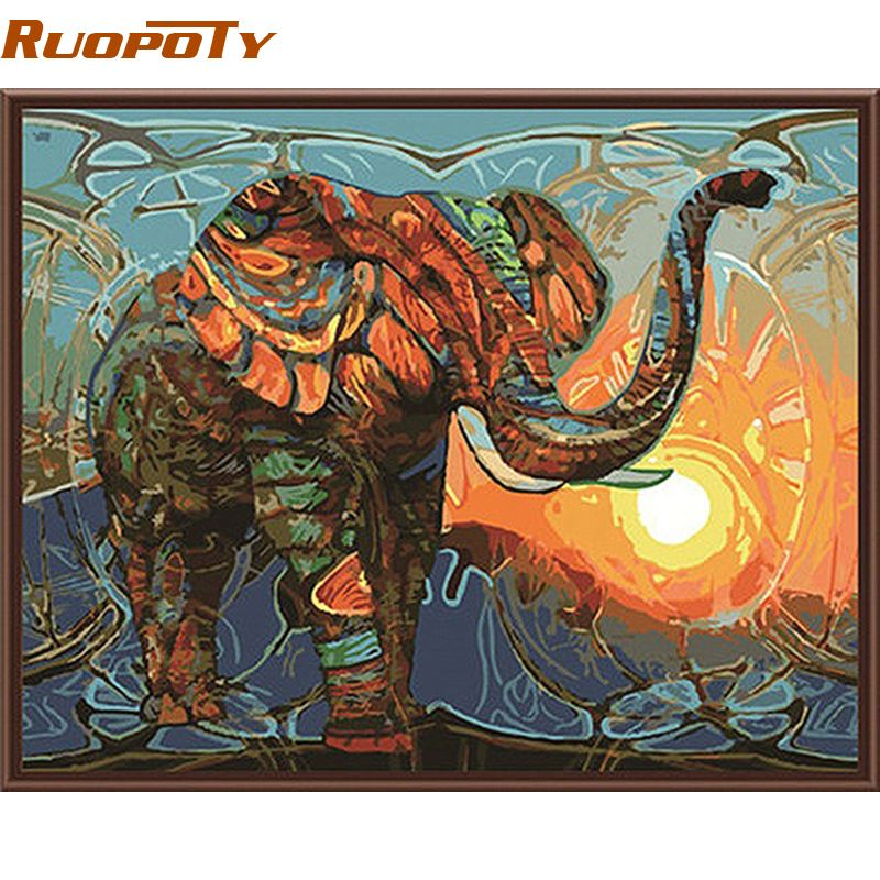 RUOPOTY éléphant peinture à la main par numéros animaux Vintage peinture acrylique image maison mur Art décor Unique cadeau mur œuvre