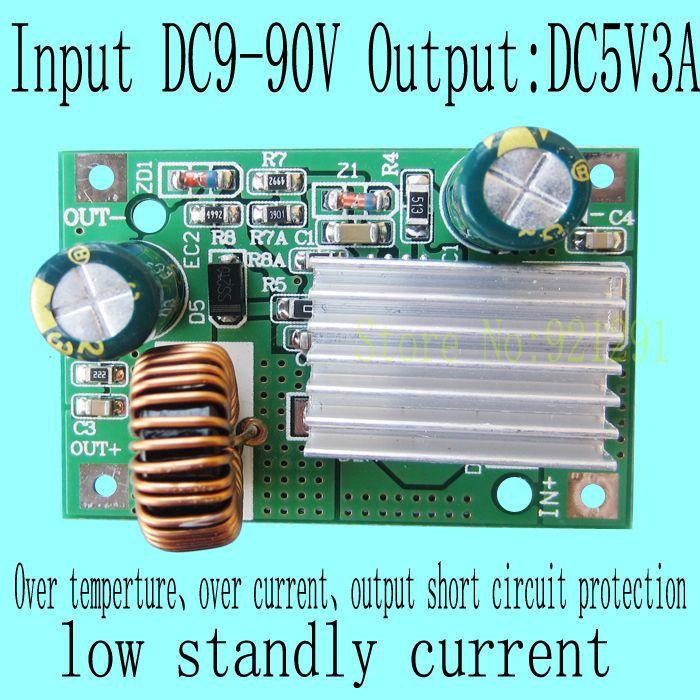 2 teile/los Neu! DC-DC Step Down Converter Modul DC 9 ~ 90 V 80 V 72 V 60 V 48 V 24 V zu 5 V 3A überstromschutz