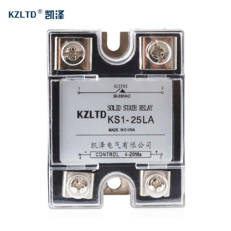 SSR-25LA 4-20MA à AC relais sortie 28 ~ 280 V AC 1 Phase relais à semi-conducteurs 25A avec boîtier en plastique rele 220 v 25a relais KS1-25LA