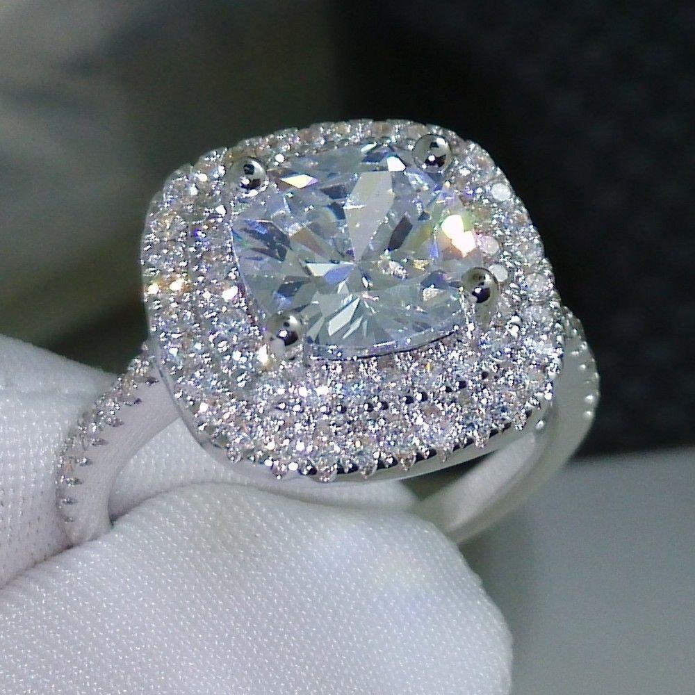 2016 мода кольцо новый стиль Подушки с 4ct 5A Камень Циркон 925 серебро Обручение обручальное кольцо для женщин Sz 5 -10