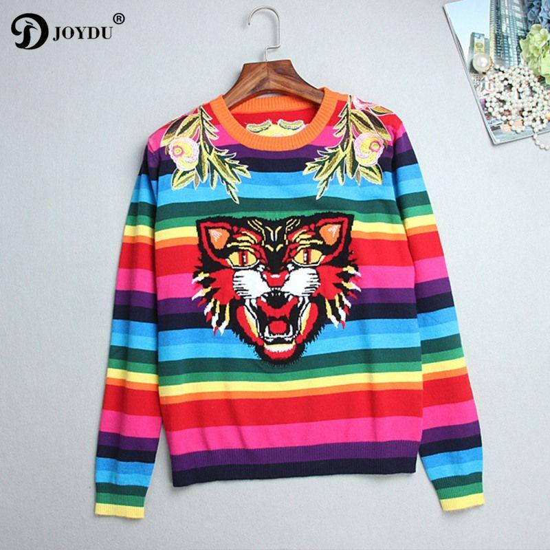 JOYDU 2018 Runway Designer Winter Sweater Women Flower Embroidery Tiger Rainbow Stripe Knitted Casual Pullover Jumper pull femme