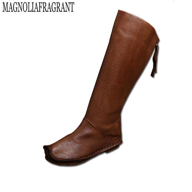 2017 weibliche winter stiefel Vintage Stil Frauen Stiefel Kniehohe echtes Leder Zurück Zip Handgemachte Schuhe stiefel botines mujer z3