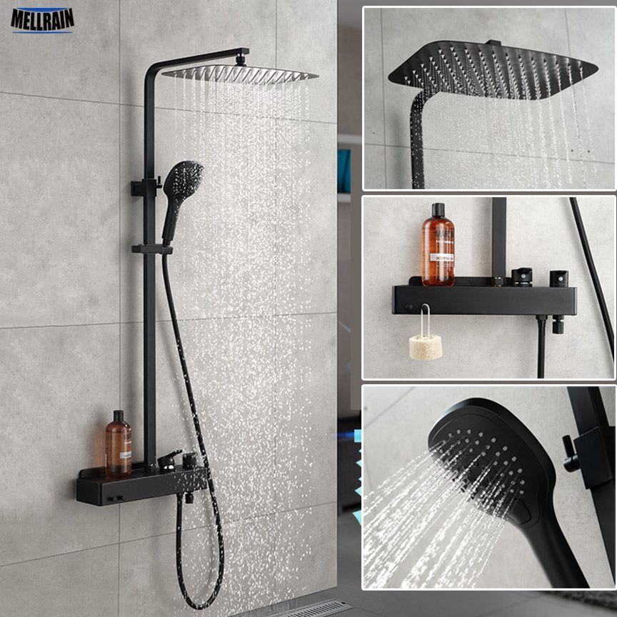 Matt Black Bathroom Rain Shower Set System Wall Mounted Mixer Bath Shower Faucet With Hook And Placement Platform