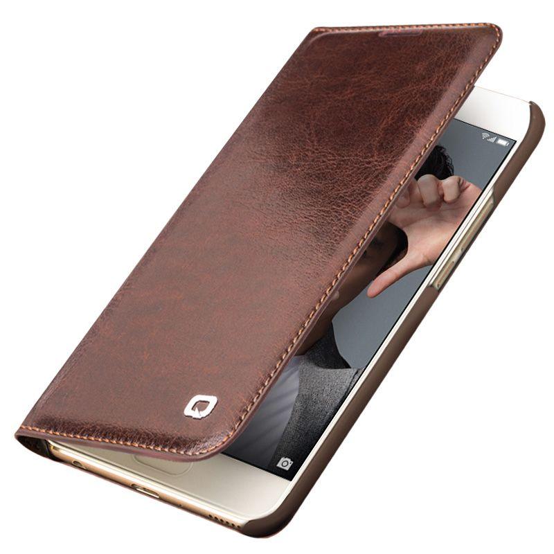 QIALINO Genuine Leather Case for Huawei honor 9 Handmade Wallet Flip Bag Cover for Huawei Honor 9 Luxury Ultra Slim Flip Case