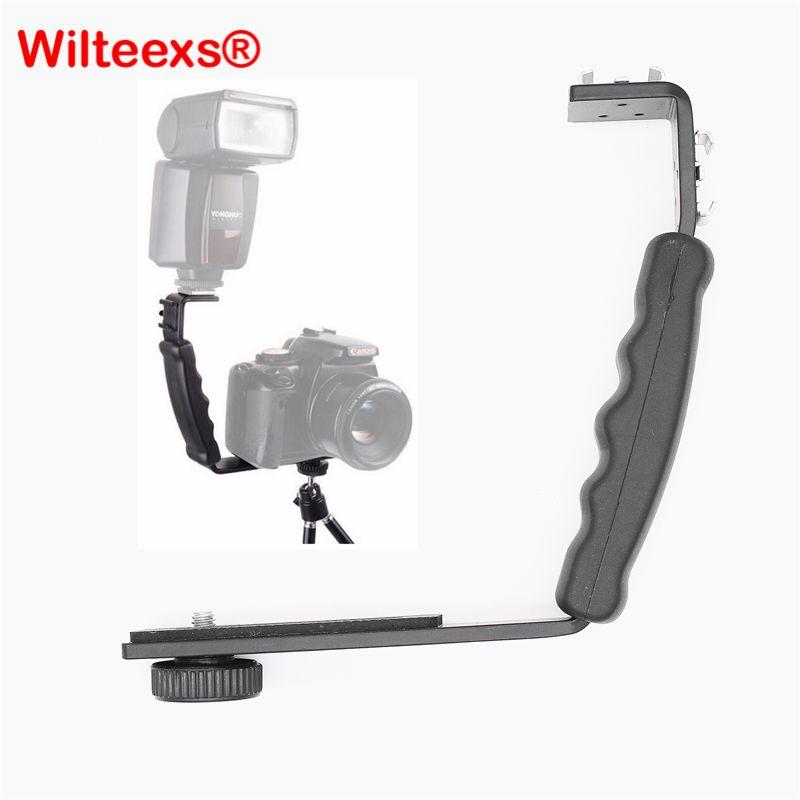 WILTEEXS Photographie Vidéo Flash Caméra Grip L Support Titulaire Avec 2 Standard Côté Hot Shoe Mont DSLR Titulaire NOIR