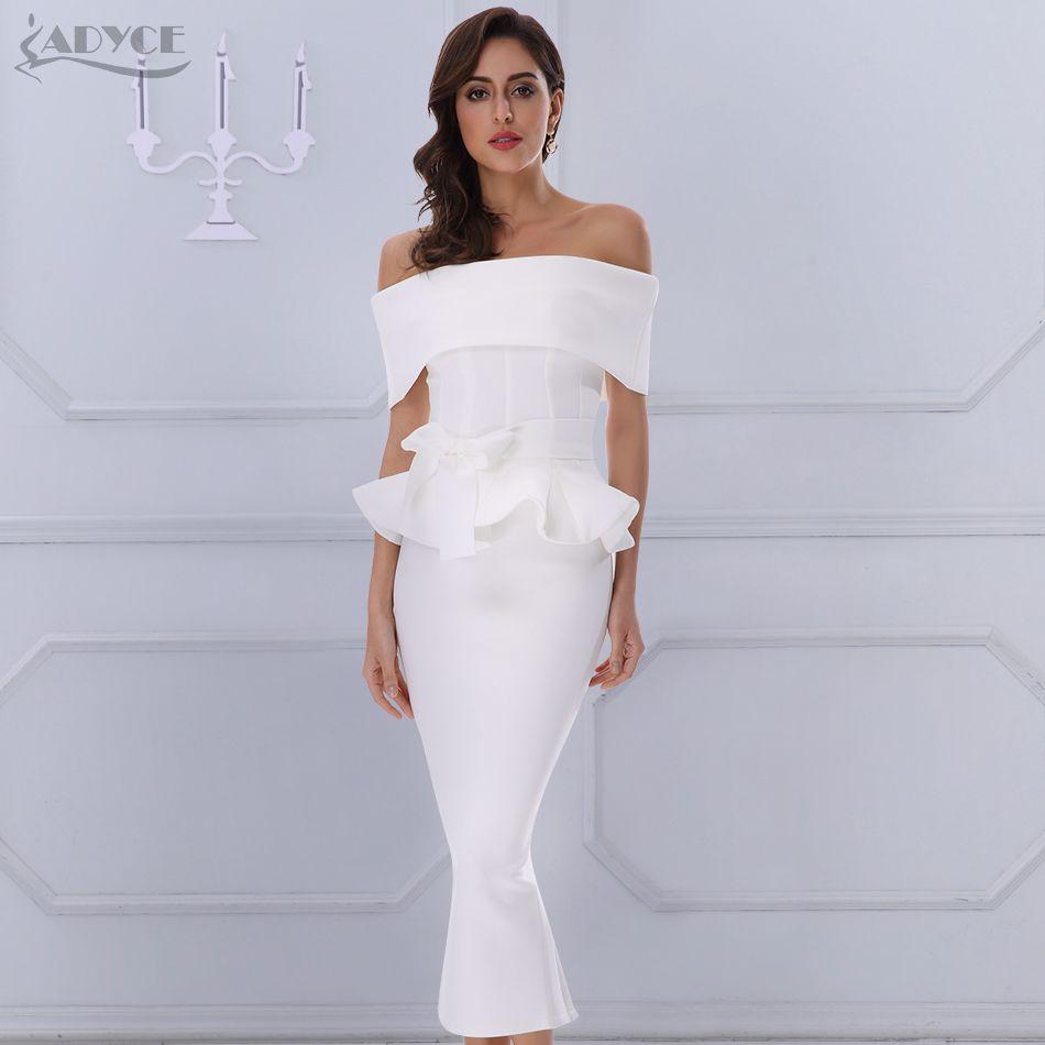 Adyce nœud & volants cheville longueur célébrité soirée moulante robe de soirée 2019 nouveau blanc Slash cou à manches courtes chaud Club robe femmes