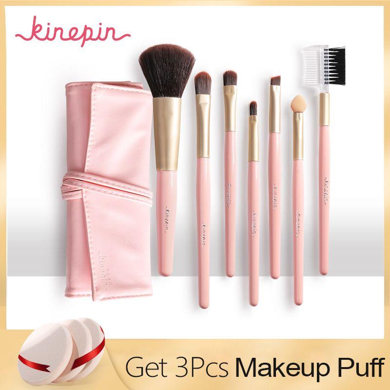 KINEPIN Professionnel 7 pcs Kit Ensemble De Maquillage Brosses Portable Cosmétique Poudre À Sourcils Make Up Brush Outil w/Élégant En Cuir support de sac