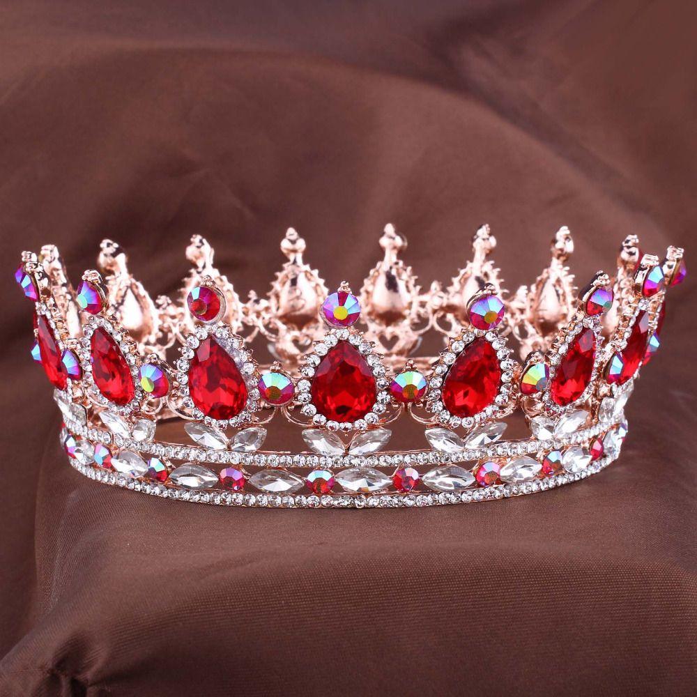 Hot européenne Designs royal roi reine couronne strass tiare tête bijoux quinceanera couronne de mariée mariée diadèmes couronnes Pageant
