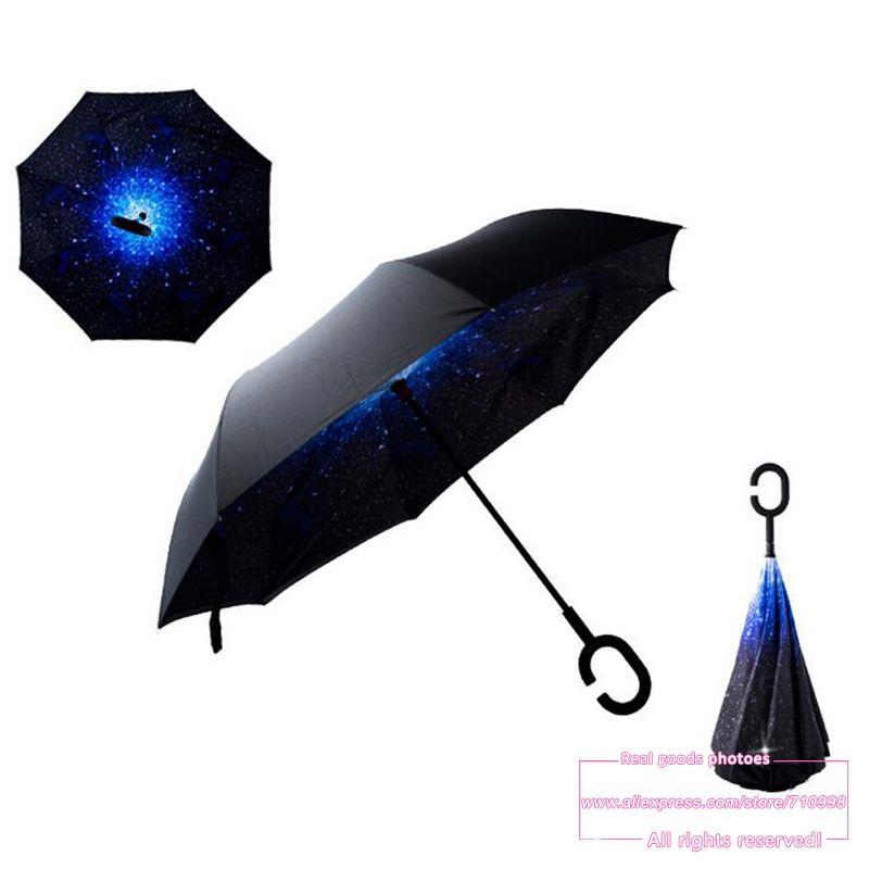 Прямая доставка 2016 творческая Высокое качество модные с ручкой сотовый телефон Sky обратный kazbrella Handfree зонтик дождь женщины