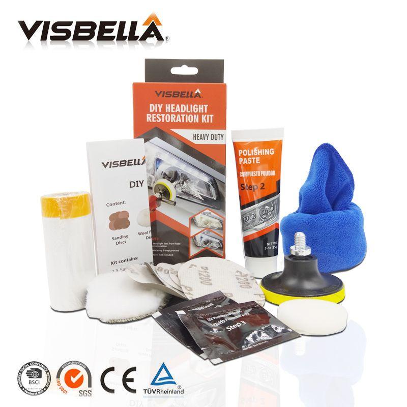 Visbella Headlight Restoration Repair Kit DIY Headlamp Car Care Repair kit Head Lamp Lense Clean Polish by machine with cloth