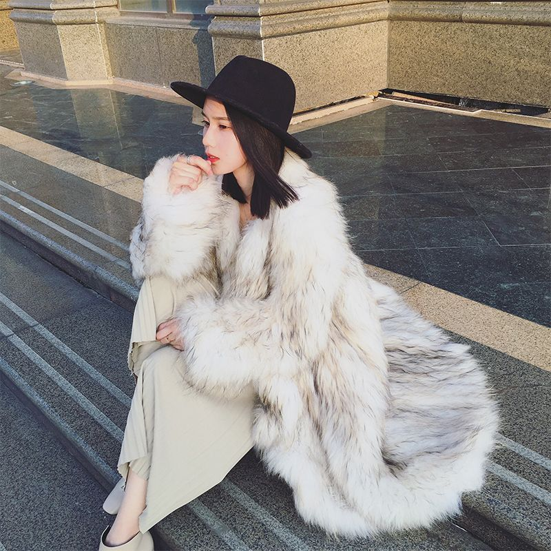 Harppihop fu Real Fox Fur Coat Genuine Leather Knitted Raccoon Dog Fur Thick Warm Fox Coat Women Fur Coats With Fur Knitted Coat