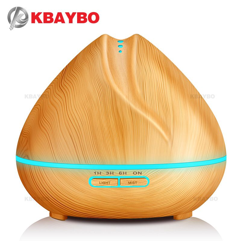 400ml Aroma Essential Oil Diffuser Ultrasonic Air Humidifier with Wood Grain 7 Color <font><b>Changing</b></font> LED Lights for Office Home Bedroom