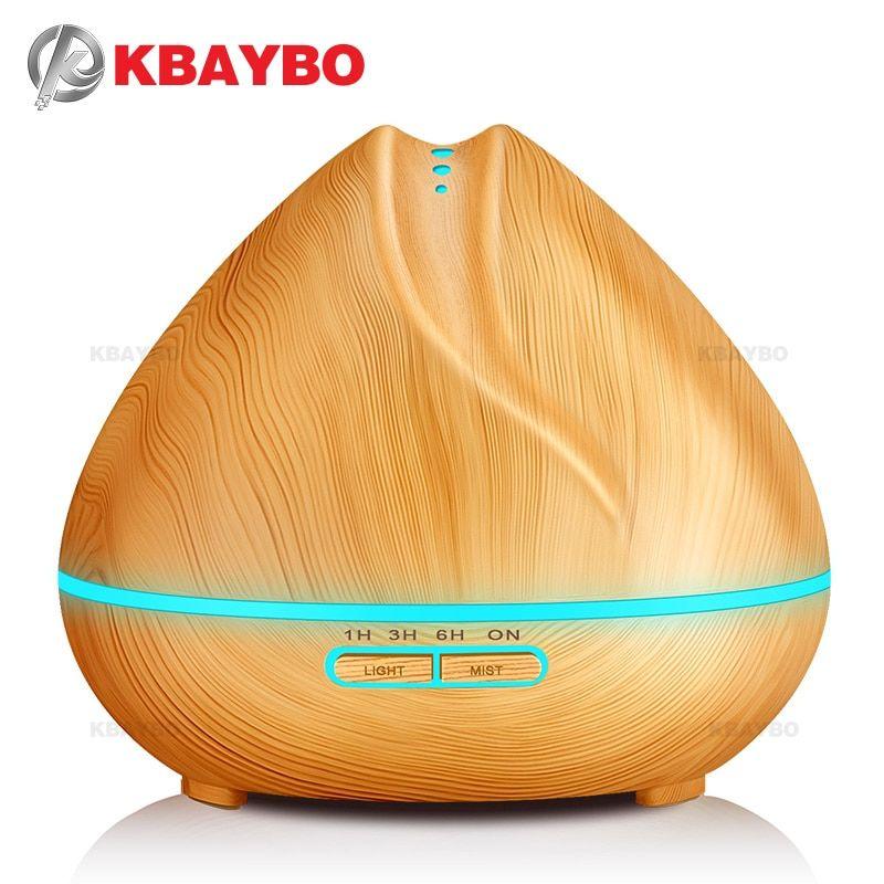 400ml Aroma Essential Oil Diffuser Ultrasonic Air Humidifier with Wood Grain 7 Color Changing LED Lights for Office Home Bedroom