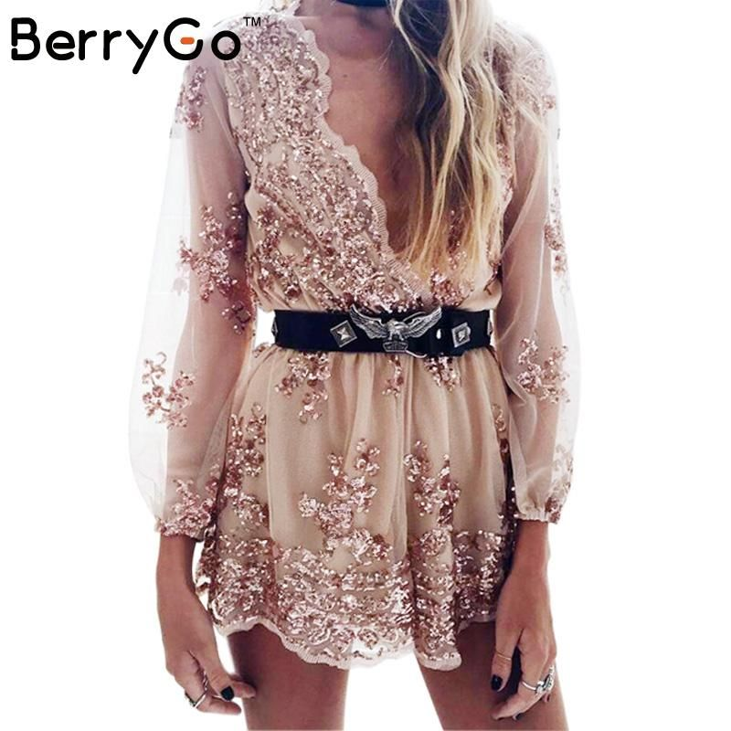 BerryGo Profonde v sequin combishort femmes Gland court maille body summer beach club élégant salopette barboteuses broderie justaucorps