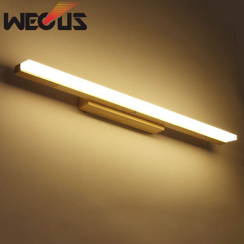 Source de applique murale LED en bois de style japonais, lampe de miroir de salle de bains anti-buée, luminaire de décoration de salon