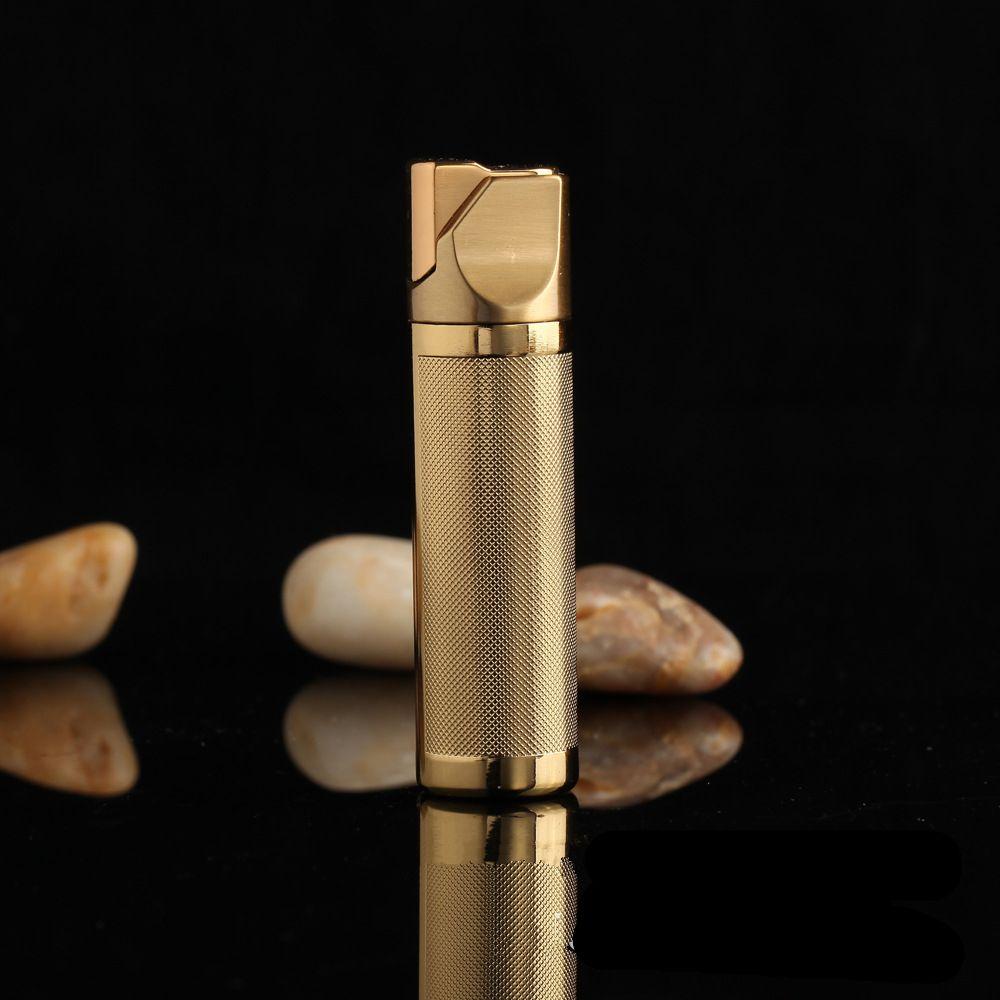 Personnalité créative 3 couleur métal placage givré Grain gaz plus léger coupe - vent flamme allume hommes Cigarette briquet cadeaux - 405